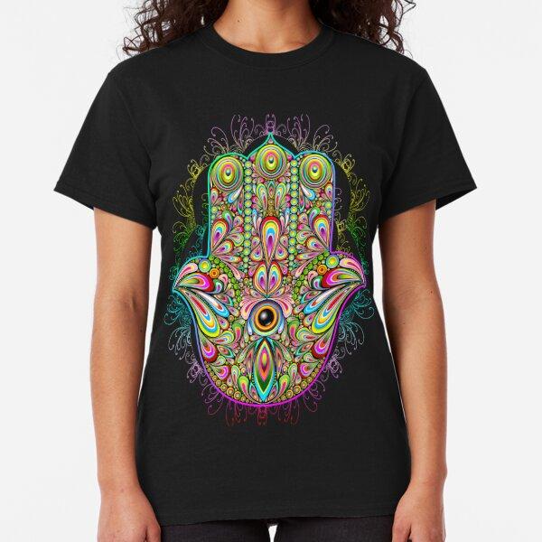 Hamsa Fatma Hand Psychedelic Amulet  Classic T-Shirt