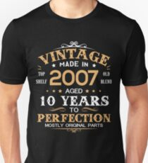 Vintage Made In 2007 Aged 10 Years Unisex T-Shirt