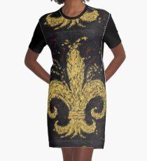 Gold Fleur De Lys Graphic T-Shirt Dress