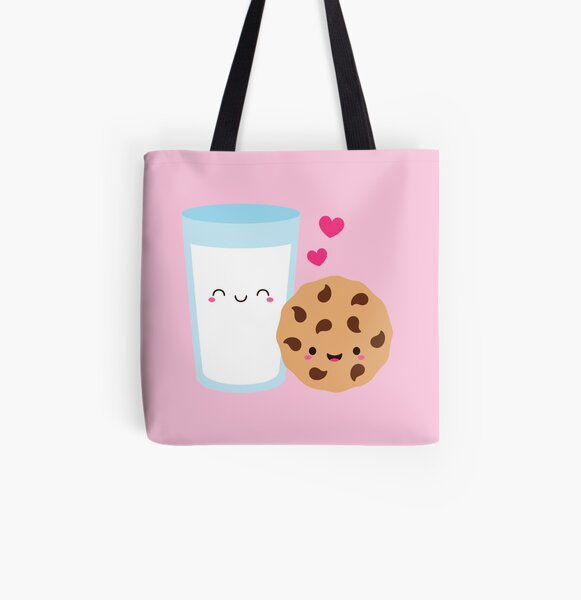 Happy Cute Milk Glass and Cookie All Over Print Tote Bag