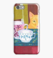 still life with cat and coffeecups iPhone Case/Skin