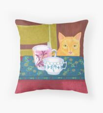 still life with cat and coffeecups Throw Pillow