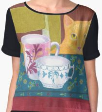 still life with cat and coffeecups Chiffon Top