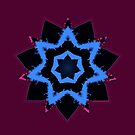 Blue and Black Star with Burgundy Fractal by TeAnne