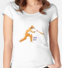 Batsman illustration in abstract style Women's Fitted Scoop T-Shirt