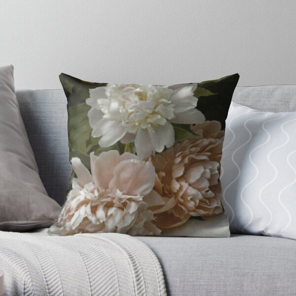 Vintage Pale Pink Peonies Throw Pillow