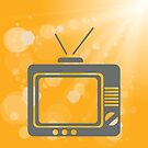 old tv on a yellow background by valeo5