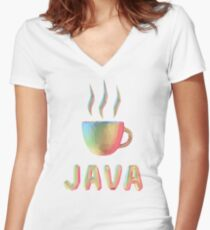 Rainbow Cup of Coffee with text Women's Fitted V-Neck T-Shirt