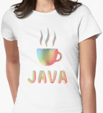 Rainbow Cup of Coffee with text Womens Fitted T-Shirt