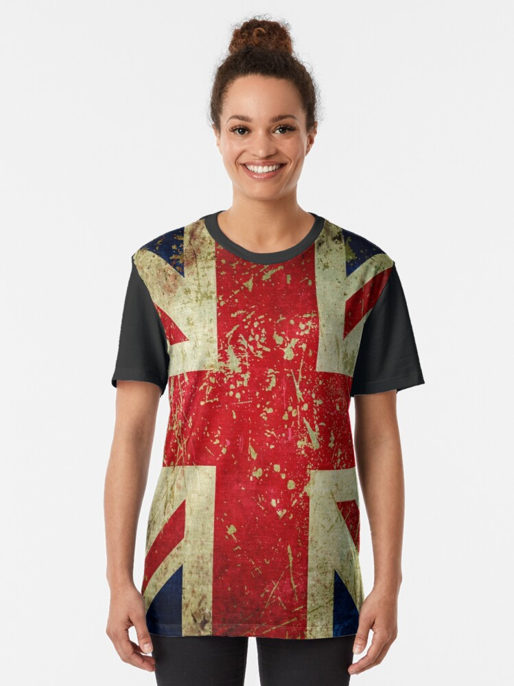 Alternate view of Grunge Union Jack - Scratched Metal Effect Graphic T-Shirt