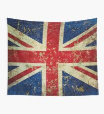 Grunge Union Jack - Scratched Metal Effect Wall Tapestry
