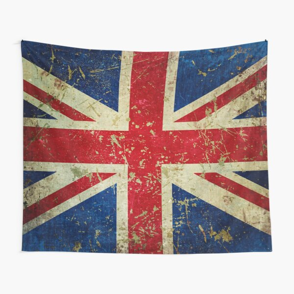 Grunge Union Jack - Scratched Metal Effect Tapestry