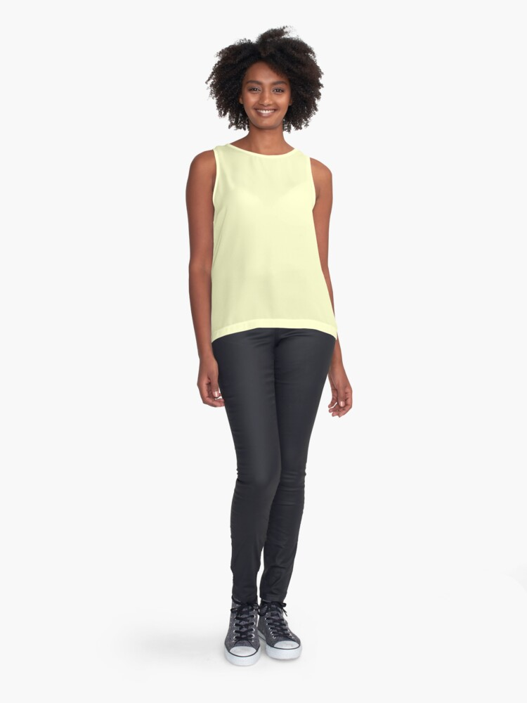 Alternate view of Pastel Color - Very Pale Yellow Sleeveless Top