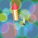 Burning Christmas Petard on Colorful Blurred Background by valeo5