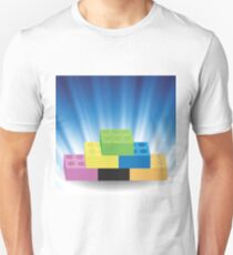 Building Blocks on Blue Wave Blurred Background T-Shirt