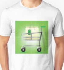 Shop basket isolated on green wave blurred background Unisex T-Shirt