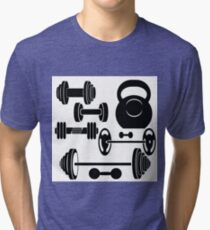 silhouettes of weights Tri-blend T-Shirt