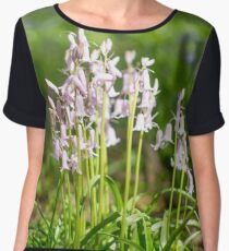 Pink Bluebells Flowers and Green LeavesPhotograph Chiffon Top