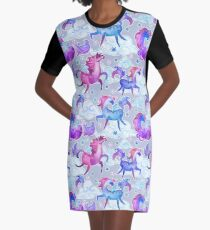 unicorns and clouds Graphic T-Shirt Dress