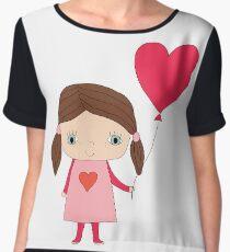 Cute girl with a heart shaped balloon Women's Chiffon Top