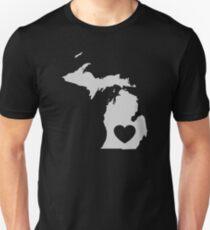 Michigan Love Heart Unisex T-Shirt