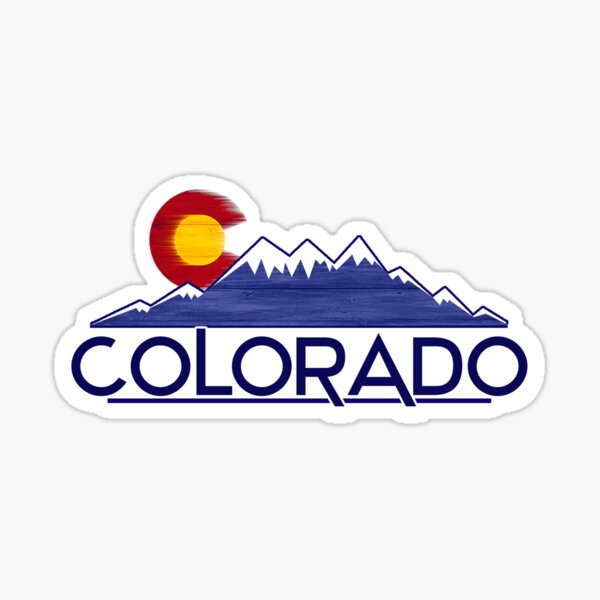 Hölzerne Gebirgsauslegungen der Colorado-Flagge Sticker