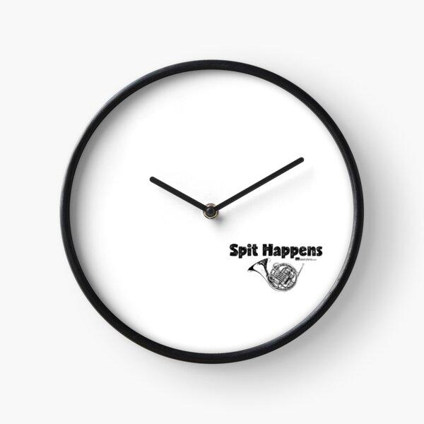 Spit Happens - French Horn (Black Lettering) Clock