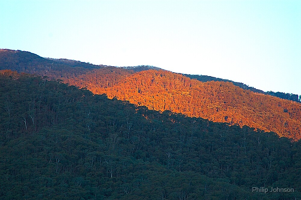 The Last Rays of Day- Harrietville, Victoria Australia by Philip Johnson