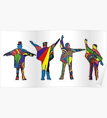 Groovy Beatles Silhouette Poster