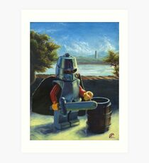 Lego knight with barrel painting Art Print