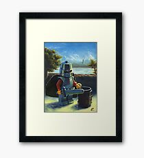 Lego knight with barrel painting Framed Print