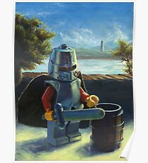 Lego knight with barrel painting Poster