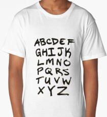 Hand Written Brush Letter Alphabet Long T-Shirt
