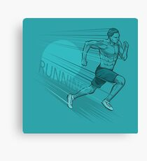 Blue background with man running design Canvas Print