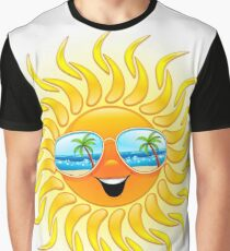 Summer Sun Cartoon with Sunglasses Graphic T-Shirt