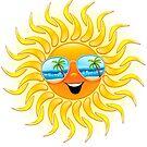 Summer Sun Cartoon with Sunglasses by BluedarkArt