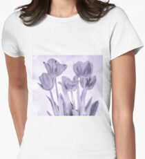 Tulips (b&w) Women's Fitted T-Shirt