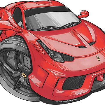 Ferrari 458 Speciale Caricature by supercarshirts