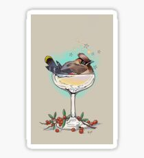 "Holiday Cheers ""Sloshed"" Cedar Waxwing Sticker"