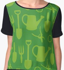 Green Garden Tools Chiffon Top