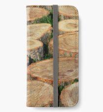 Wood mosaic iPhone Wallet