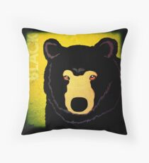 Black Bear (Rustic) Throw Pillow