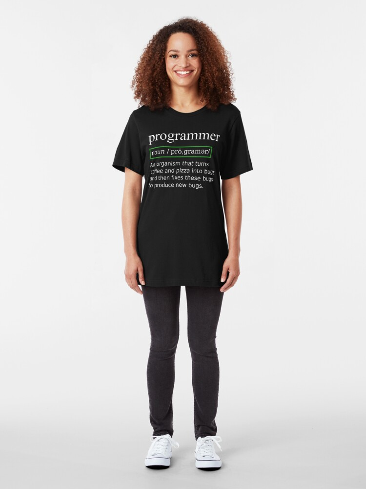 Alternate view of True Programmer Definition Design Turning Coffee into Bugs Slim Fit T-Shirt
