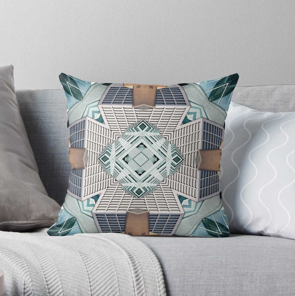 City Cube Collage Throw Pillow