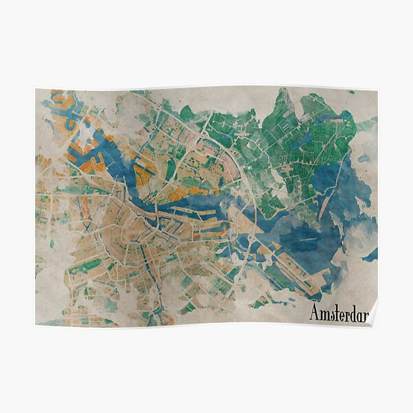 Amsterdam, the watercolor beauty Poster
