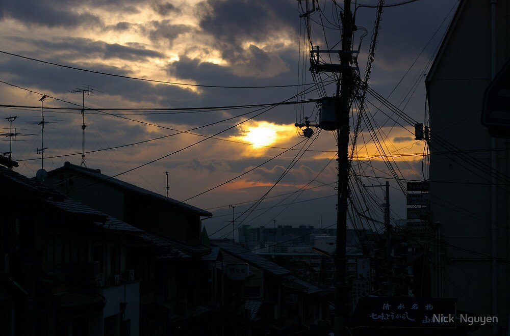 Kyoto - Ominous Sunset Over Powerlines by Nick  Nguyen