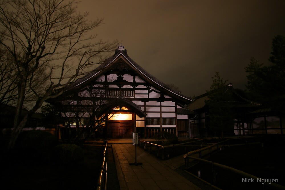 Kyoto - A temples light darkens the sky by Nick  Nguyen