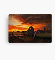 The Fishermen At Sunset Canvas Print