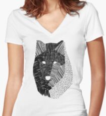 Wolf Mask Women's Fitted V-Neck T-Shirt