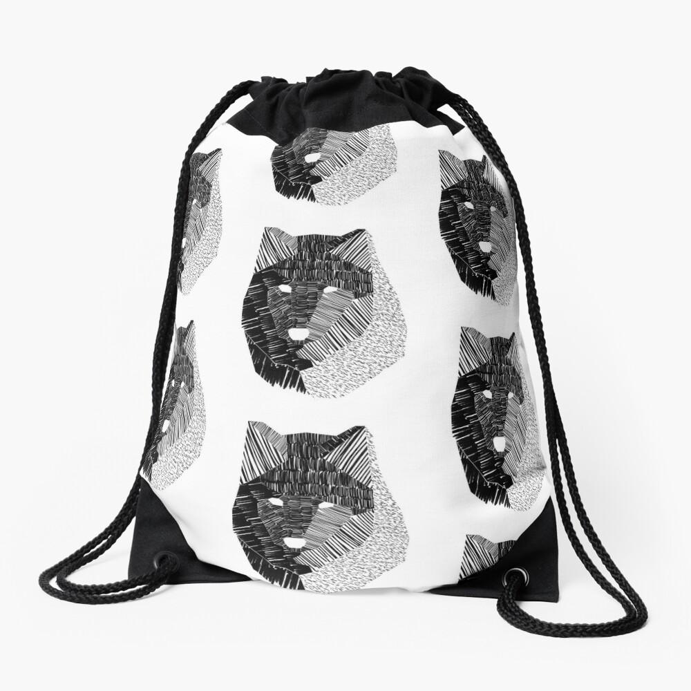 Wolf Mask Drawstring Bag